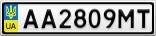Номерной знак - AA2809MT