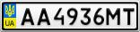 Номерной знак - AA4936MT
