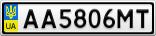 Номерной знак - AA5806MT