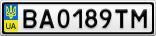Номерной знак - BA0189TM
