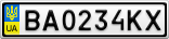 Номерной знак - BA0234KX