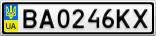 Номерной знак - BA0246KX