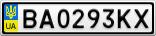 Номерной знак - BA0293KX