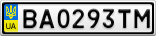 Номерной знак - BA0293TM