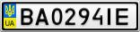Номерной знак - BA0294IE