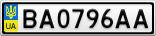 Номерной знак - BA0796AA