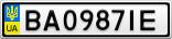 Номерной знак - BA0987IE