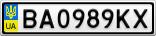 Номерной знак - BA0989KX