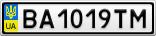 Номерной знак - BA1019TM