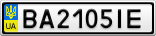 Номерной знак - BA2105IE