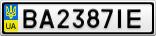 Номерной знак - BA2387IE
