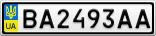 Номерной знак - BA2493AA