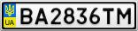 Номерной знак - BA2836TM