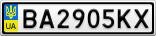 Номерной знак - BA2905KX