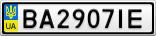 Номерной знак - BA2907IE