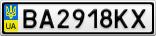 Номерной знак - BA2918KX