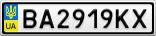 Номерной знак - BA2919KX