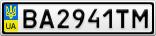 Номерной знак - BA2941TM