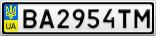 Номерной знак - BA2954TM