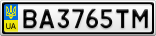 Номерной знак - BA3765TM