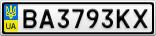 Номерной знак - BA3793KX