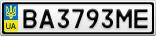 Номерной знак - BA3793ME