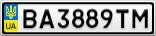 Номерной знак - BA3889TM