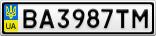 Номерной знак - BA3987TM