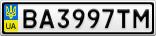 Номерной знак - BA3997TM