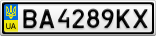 Номерной знак - BA4289KX