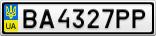 Номерной знак - BA4327PP