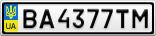 Номерной знак - BA4377TM