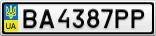 Номерной знак - BA4387PP