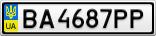 Номерной знак - BA4687PP