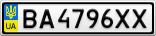Номерной знак - BA4796XX