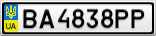 Номерной знак - BA4838PP