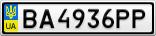 Номерной знак - BA4936PP