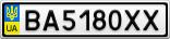 Номерной знак - BA5180XX