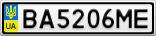 Номерной знак - BA5206ME