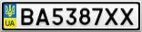 Номерной знак - BA5387XX