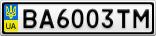 Номерной знак - BA6003TM