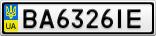 Номерной знак - BA6326IE