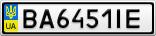 Номерной знак - BA6451IE