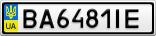 Номерной знак - BA6481IE