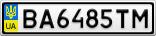 Номерной знак - BA6485TM