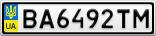 Номерной знак - BA6492TM