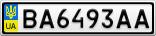 Номерной знак - BA6493AA