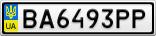 Номерной знак - BA6493PP