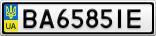 Номерной знак - BA6585IE