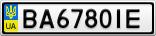 Номерной знак - BA6780IE
